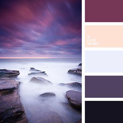 beige cremoso, berenjena, berenjena y crema, berenjena y violeta, color morado, color puesta del sol en el mar, colores crema y berenjena, colores de la puesta del sol sobre el mar, gris y violeta, gris y violeta oscuro, matices de color ocaso, morado y gris, morado y violeta, tonos