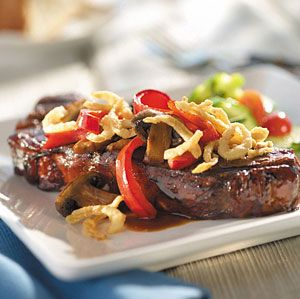 Teriyaki Steak with Crunchy Onions: MARINATE steaks in teriyaki sauce ...