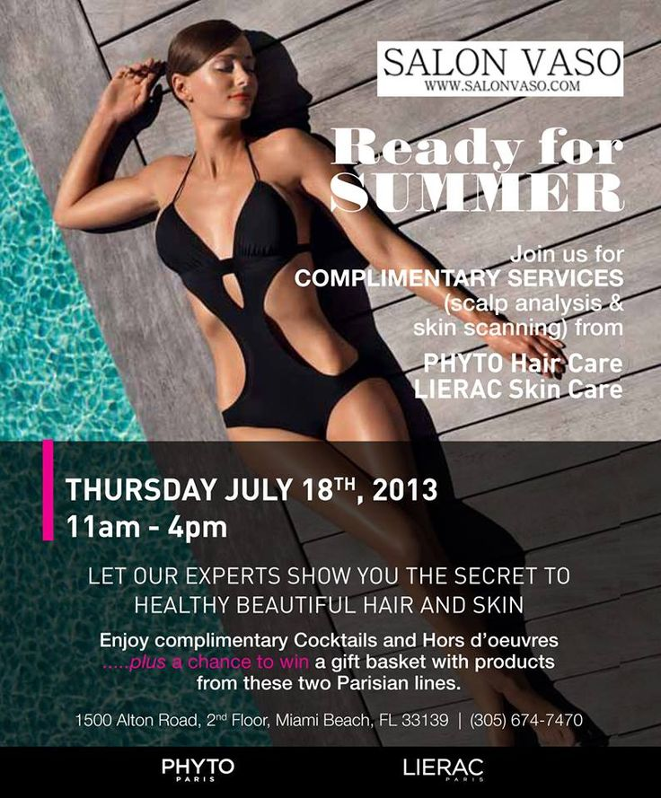 Allow us to get you Summer ready at our next beauty event with Phyto Hair Care and Lierac Paris on Thursday July 18. Complimentary cocktails, services and more are waiting. Reserve your attendance by calling 305.674.7470