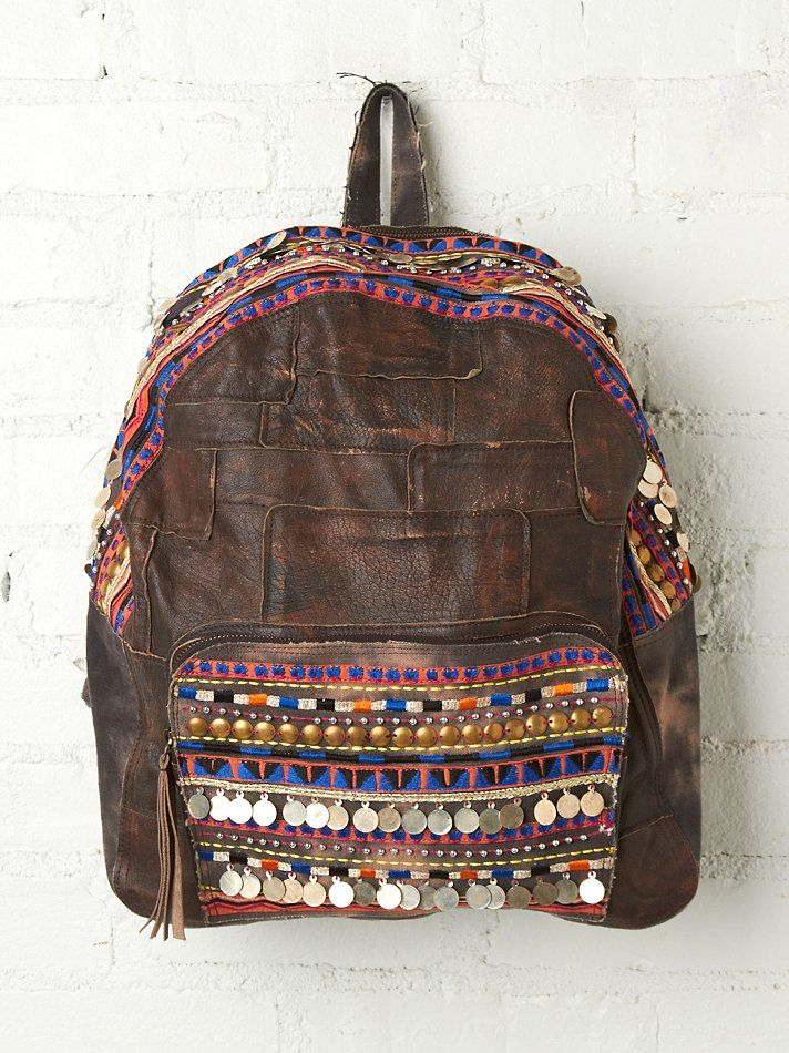 Glastonbury Festival Fashion Inspiration. hippie, bohemian, boho, Free People Alameda Embellished Backpack, navajo, aztek, woven, coins, brown leather, rucksack