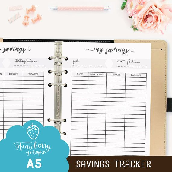 Printable savings planner SAVINGS TRACKER by StrawberryScraps