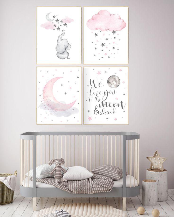 Kinderzimmer Dekor Elefant, Kinderzimmer Dekor Mädchen Elefant, wir lieben dich bis zum Mond und zurück, rosa und grau, Elefanten Kinderzimmer Wandkunst, Babyzimmer