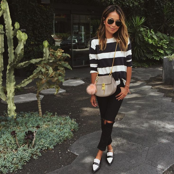 Cute black and white look. Love the shoes!