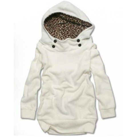 Cute Solid Color Long Sleeve Loose-Fitting Leopard Print Hoodie For WomenSweatshirts & Hoodies | RoseGal.com