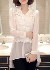 Asymmetric Hem Long Sleeve Lace Panel White Blouse