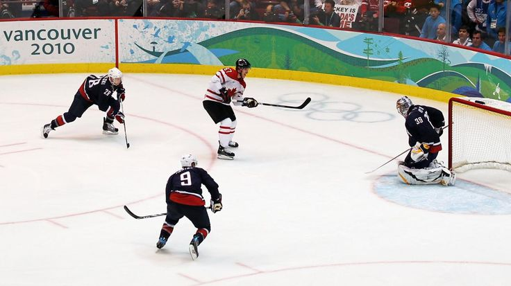 Sidney Crosby of Team Canada scores gold medal winning goal in overtime against the United States the 2010 Winter Olympics.