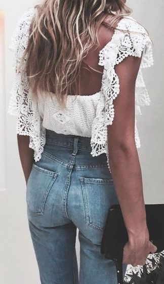#summer #fashion / crochet + denim