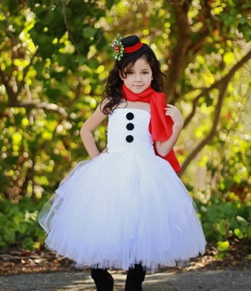 Girls Snowman Dress - such a cute idea for christmas day!