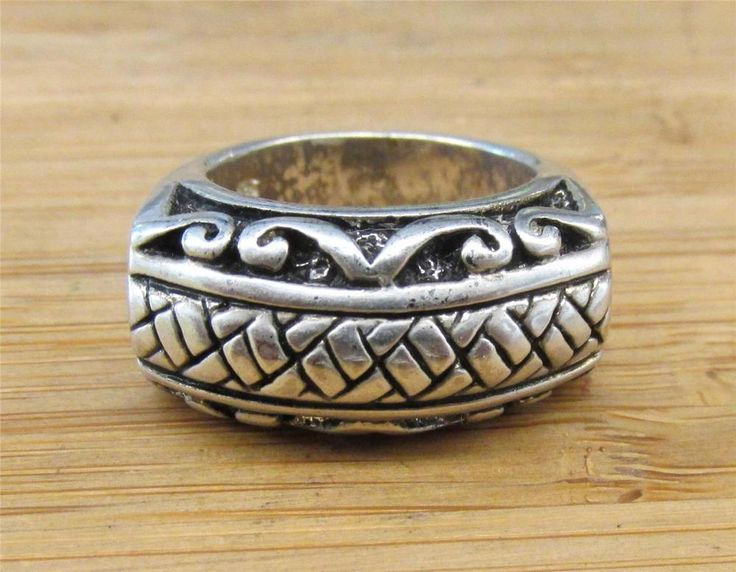 SIZE 6 Sterling Silver Vintage Intricate Woven Scroll Bali Style Ring 9.1 .43in #Band