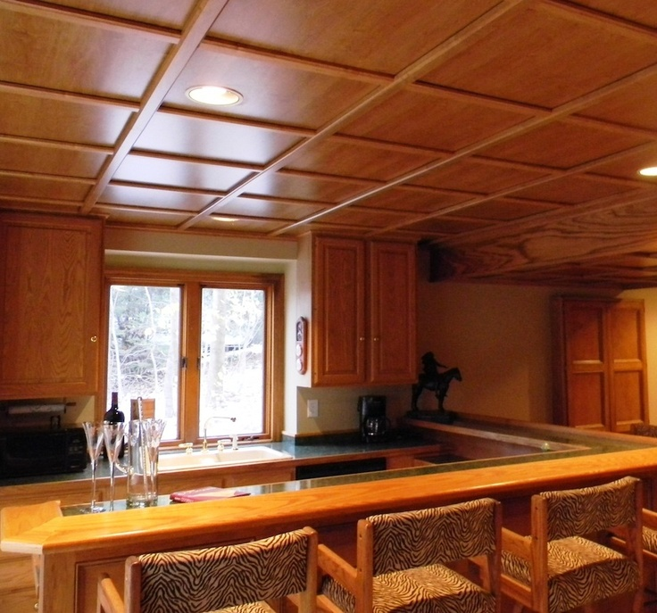A Beautiful Kitchen With Woodtrac Ceiling Panels