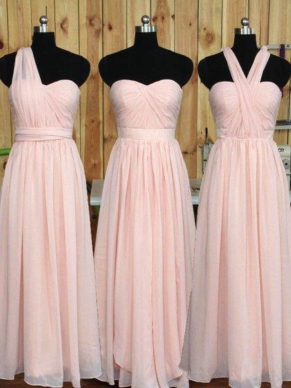 Sweetheart Chiffon Floor-length Ruffles Classic Pink Bridesmaid Dress #DGD01012890
