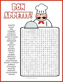 French Food Word Search Puzzle:  A word search puzzle featuring the names of various French specialties.  Tantalize your student's taste buds with these scrumptious French treats.  Puzzlers must look for the vocabulary words in all directions including backwards and diagonally.