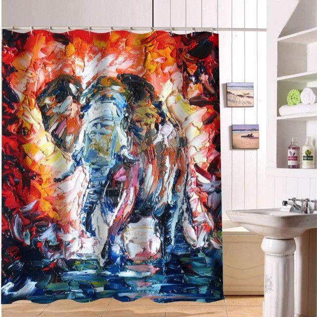 F516XY18 Custom Colorful elephant print Fabric Modern Shower Curtain bathroom Waterproof LF15