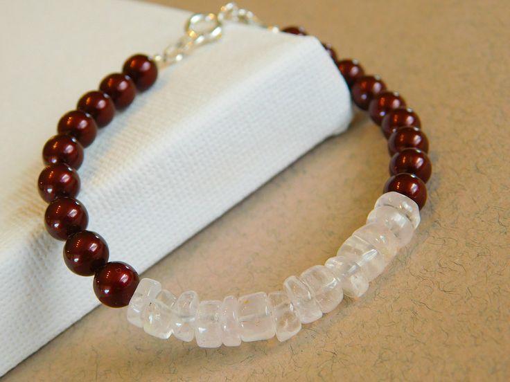 Beaded Bracelet, Rose Quartz Bracelet, Swarovski Pearl Bracelet by jljewellerydesign on Etsy