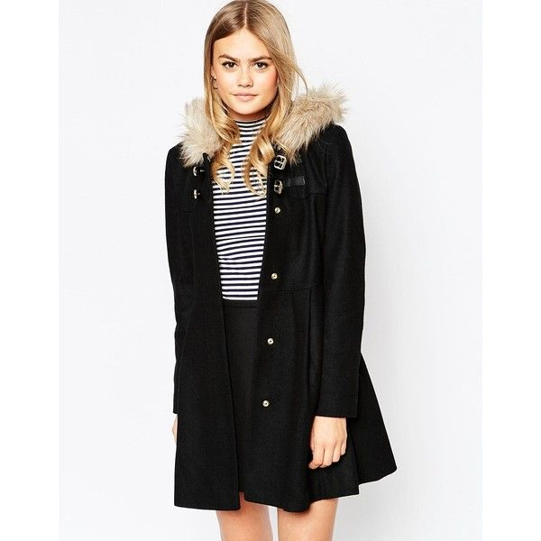 ASOS Duffle Coat with Faux Fur Hood featuring polyvore, fashion, clothing, outerwear, coats, black, hooded coats, black coat, faux fur hood coat, asos coats and black hooded coat