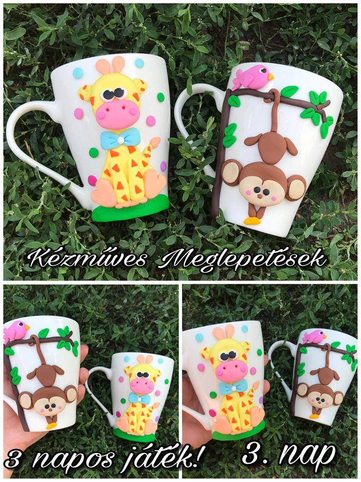 Monkey giraffe wild animal cute yellow brown birds mug polymer clay handmade homemade