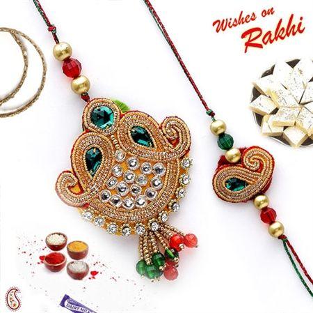 Picture of Traditional Design Bhaiya Bhabhi Rakhi Set with Kundans and Beads