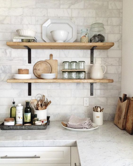 Gorgeous Open Shelving with marble subway tiles