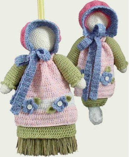 "Watch Sunbonnet Sue Broom Cover and Bag Keeper Crochet Pattern Product Review: Design By: Maggie Weldon Skill Level: Easy Size: 18"" tall.   Materials: Worsted W"
