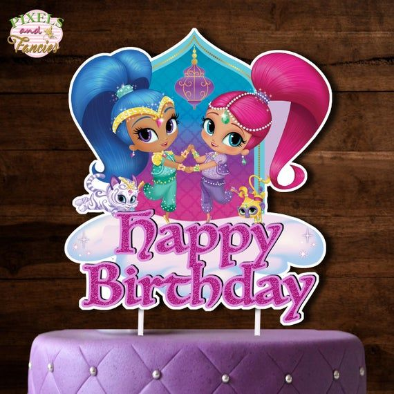 Pin By Gretchen Langenhoven On Juju 5 Birthday Shimmer And Shine Cake Shimmer And Shine Decorations Cake Toppers