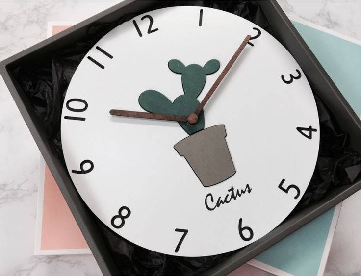 cactus clock/botanical clock/herb clock/minimal clock/modern clock/wooden minimal decor clock/wood Scandinavian clock/white wood/Round Clock by BeautyOfPrints on Etsy