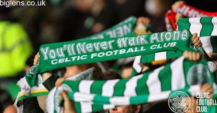 Celtic 1-0 GNK Dinamo Zagreb, 2nd October 2014. Celtic fans wave their scarves ahead of the game.