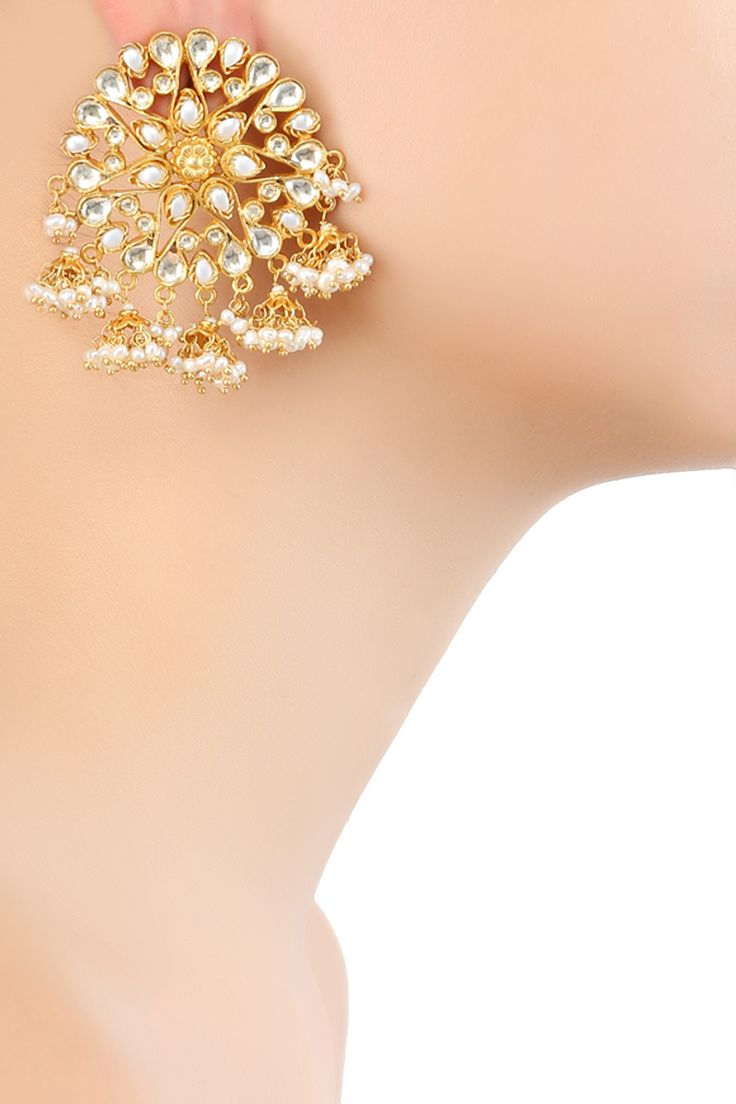 Jomayana presents Gold plated kundan and baby pearls floral motif earrings available only at Pernia's Pop Up Shop.
