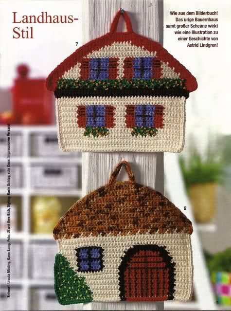 Cute House Potholders: free charts