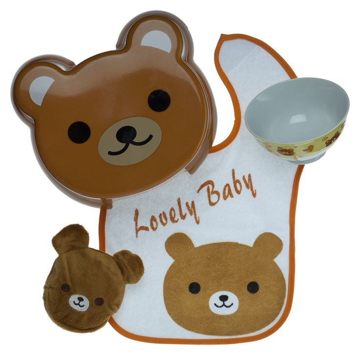 Baby gift set idea ft. Lovely Bear with baby bib, kids stool and bowl and bib