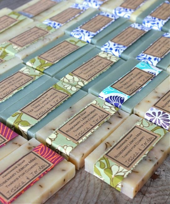 "What a fun way to wrap soaps! Could choose a fabric for each type. A yard, or even 1/4 yrd, would last a very long time if cut into 1-1/2"" strips. Just print all the info on labels. Would probably be pretty quick once fabric strips were cut."