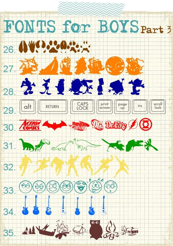 The Scrap Shoppe: Fonts for Boys | Part 3  http://www.thescrapshoppeblog.com/2012/03/fonts-for-boys-part-3.html
