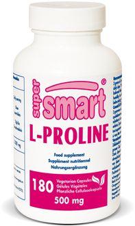 """L-Proline 500 mg. La proline est le précurseur unique de l'hydroxyproline, un intermédiaire indispensable à la production du collagène, le """"ciment"""" qui structure la peau, le cartilage, les ligaments, les tendons et les artères. La production de collagène décroît significativement avec le vieillissement et elle est à l'origine de plusieurs graves pathologies dégénératives"""