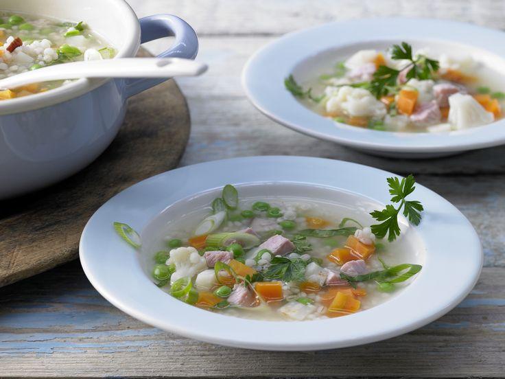 Gemüse-Kassler-Eintopf - mit Graupen - smarter - Kalorien: 237 Kcal - Zeit: 40 Min. | eatsmarter.de In diesen Eintopf kommt neben Graupen und Kassler auch Blumenkohl.