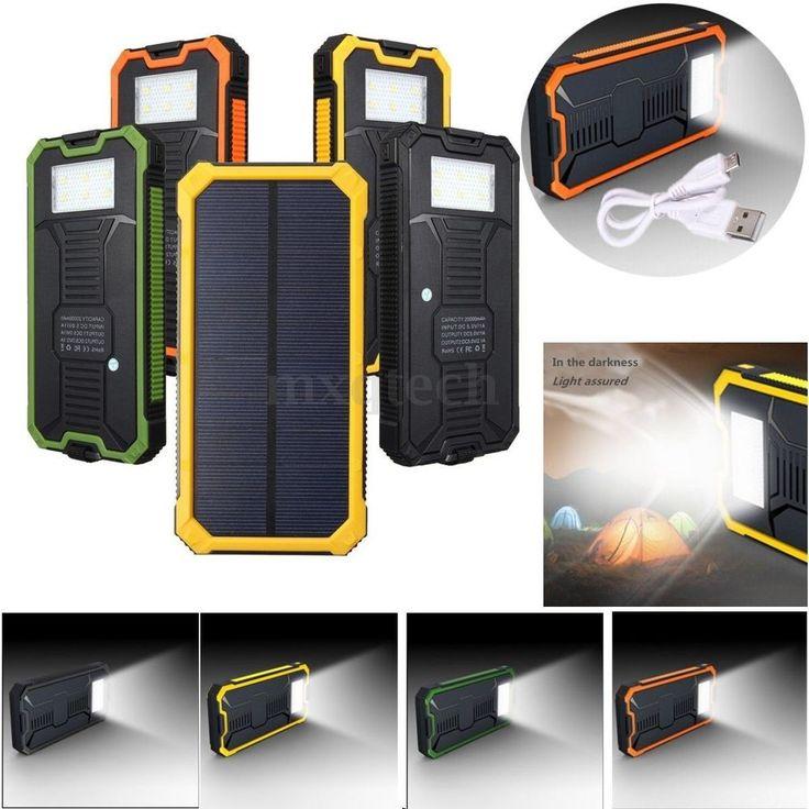 20000mAh 2 Ports Externe Portable Batterie Chargeur Secours Solaire Power Bank