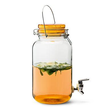 Glaskrukke på 3,7 liter med taphane og grønt eller orange patentlåg 100 kroner. Fyld op, og drik en skål med vennerne.