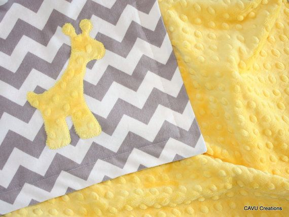 "Gray Chevron + Yellow Minky Baby Blanket with Giraffe Applique - 28x36"" Modern, Gender Neutral Baby Blanket - Super Soft - READY TO SHIP!"