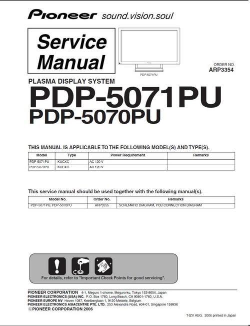 Pioneer PDP-5070PU & PDP-5071PU Kuro , Service Manual in PDF 100 per cent satisfaction guaranteed DOWNLOAD