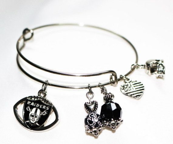 Oakland Raiders Football with Team Colors, Raiders Bracelet, Raiders Keychain or the set, Oakland Raiders Gift, Gift for Her,Stainless Steel