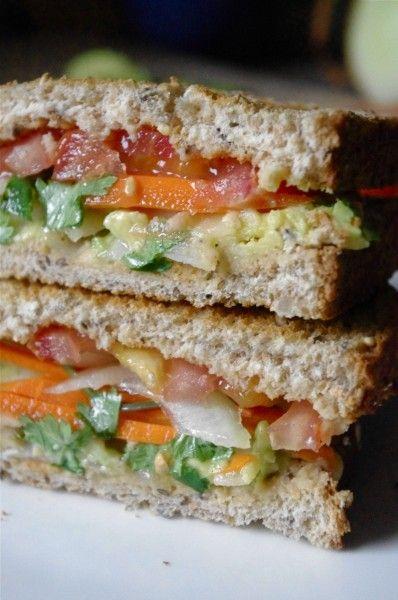 Avocado & Spiced Hummus Sandwich: minus onions and cilantro