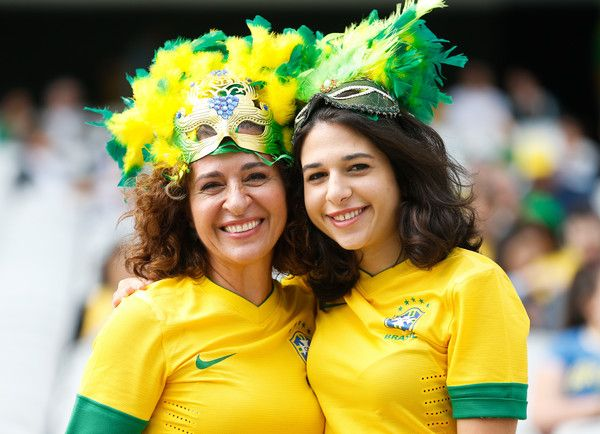 Fans of Brazil before the match between Brazil and Canada women's football bronze medal for the Olympic Games Rio 2016 at Arena Corinthians on August 19, 2016 in Sao Paulo, Brazil.