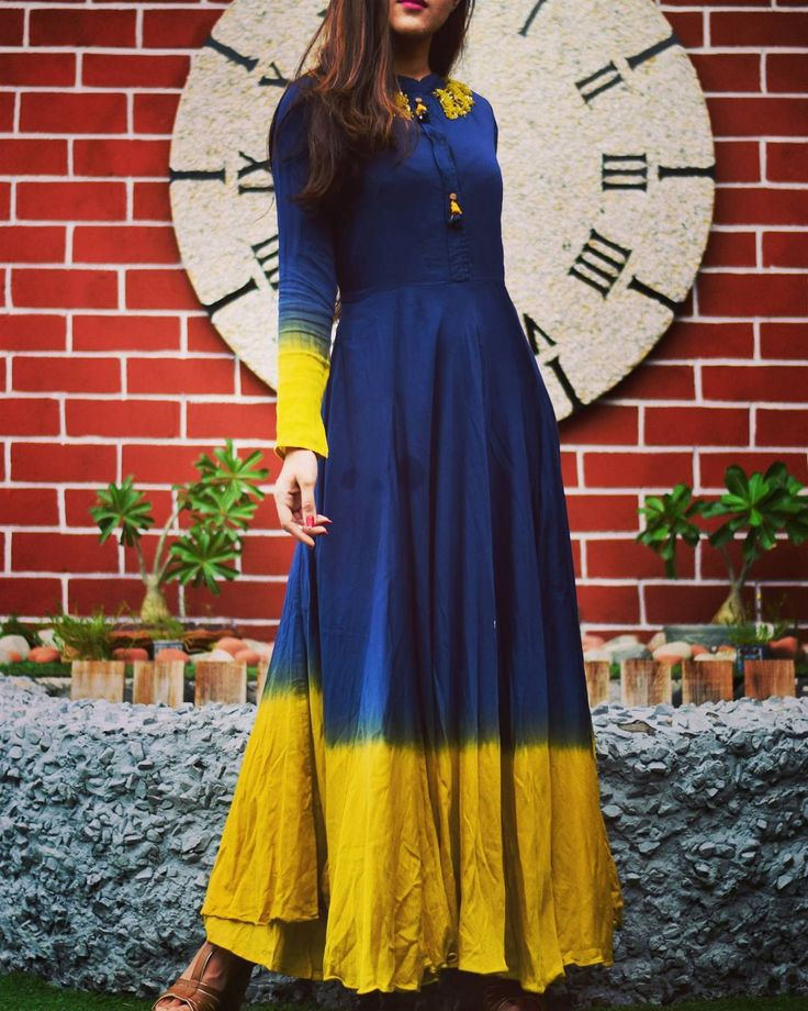 Midnight blue and mustard yellow ombres we love! #combination #ombre #tieanddye #dye #handdyed #blues #diwali2017 #partydress #partywear #dressess #maxi #maxidress #styleoftheday #ootd #swag #fashionist