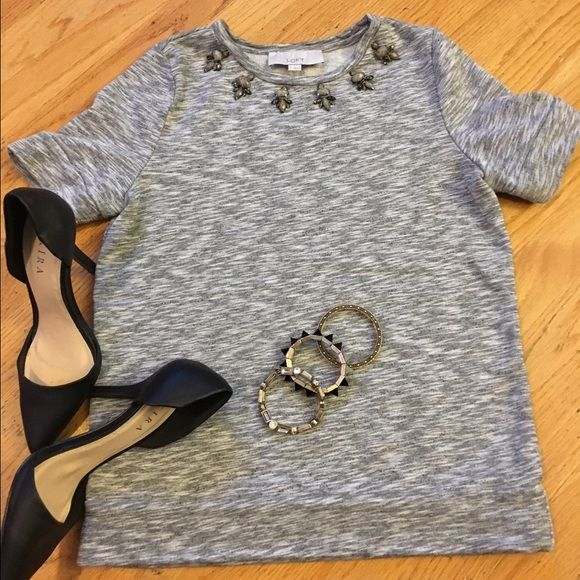 Ann Taylor Sweater Top Sweater top with beading Short sleeves length. In Excellent used condition. Ann Taylor Tops