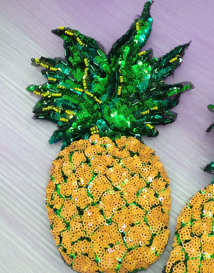 Aliexpress.com: Comprar 2 unids grandes amarillas cequis moldeados perla piña vestido/Camiseta accesorios de decoración apliques bordados de parches para la ropa de patches for clothing fiable proveedores en Lace Artist