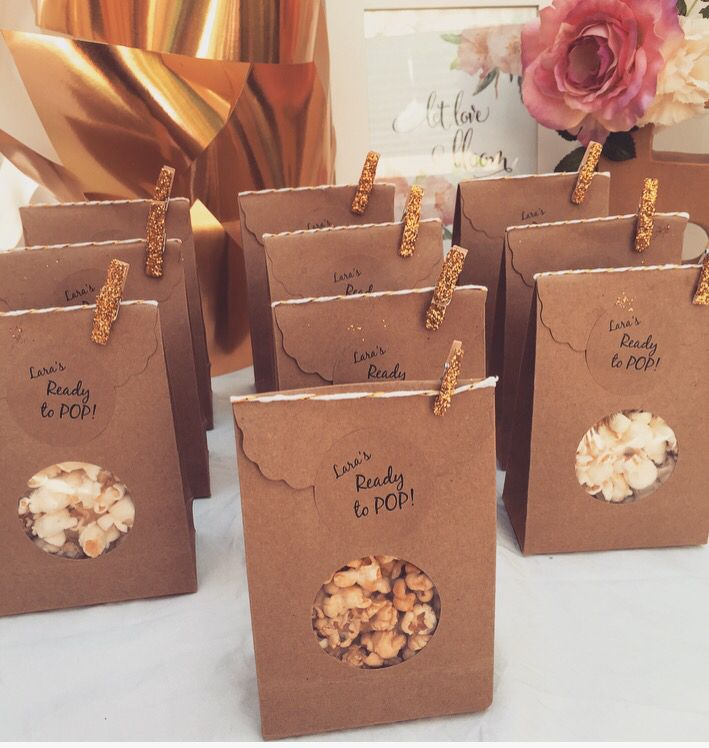 Party favours. #babyshower #partyfavours #popcorn #readytopop #rustic #gold #glitter #floral #flowers #personlised