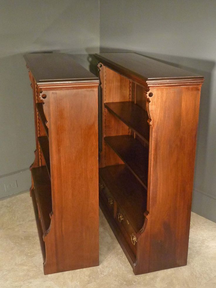 Pair Walnut Victorian Bookcases. Profile.