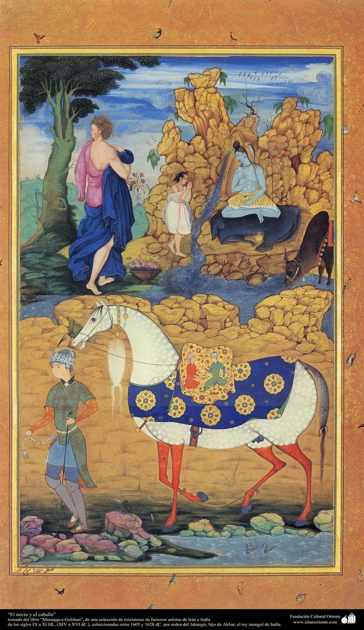 Masterpieces of miniature Persian - groom and horse - Moraqqaʿ-e Golšan - 1605,1628شاهکار مینیاتور فارسی - داماد و اسب - کتاب کوچک مرقع گلشن - 1605،1628
