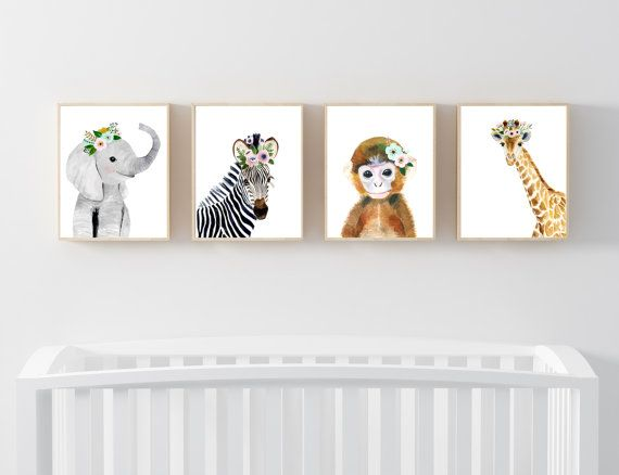 Baby animals : zebra, giraffe, elephant, monkey  Lets make your little ones room warm and enjoyable!  This baby animal art prints collection features a set of 4 prints from my watercolor art collection. This set includes portraits of a zebra, elephant, and giraffe and monkey.  If, however, youd like to swap any of them for a different piece in my shop, please give me a notice about which baby animals you want to swap it.  Materials: Printed on beautiful high quality, archival and acid free…