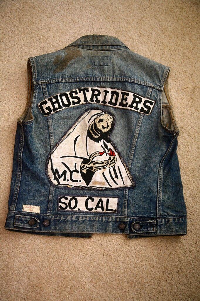 Vintage Motorcycle Club Vest Ghostriders Back