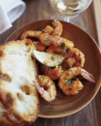 Smoky Citrus Shrimp with Parsley | Grub co-author Bryant Terry eats these tangy, garlicky shrimp piled high on crispy toasts, but sometimes he sandwiches them inside a quesadilla oozing with shredded Jack cheese.