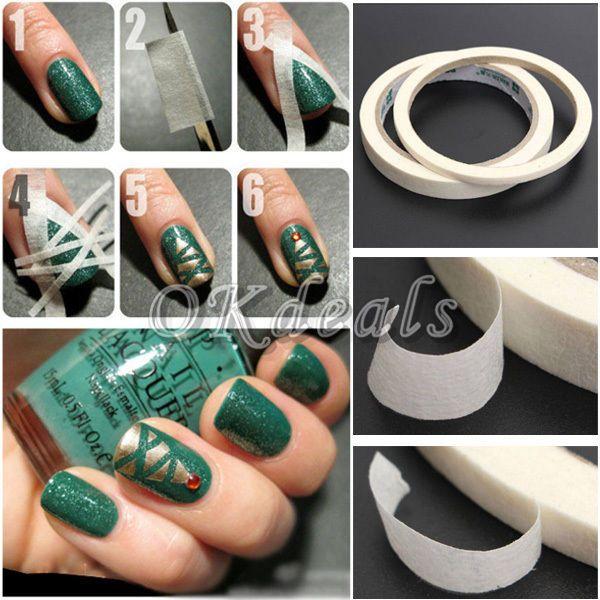 0.5/1.2cm Nice Nail Art Adhesive Striping Tape Strips Line Rolls ...